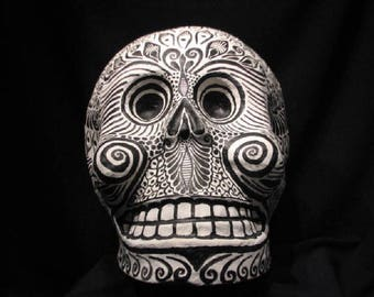 Day of the Dead, Huge Paper Mache Skull Mexican Folk Art, Dia de los Muertos, piece is Signed on the bottom: Agustin Galicia