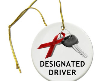 December Drunk Driving Prevention Designated Driver Ceramic Christmas Ornament