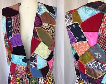1960's Groovy Patchwork Vest / Women's M/ Flower Power Vest/ Mod Trippy Flamboyant 1960's Counterculture Hippie Hippy Crazy Quilt Mushrooms