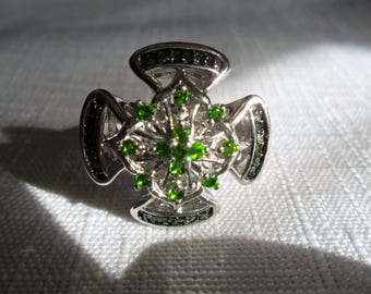 Vintage Green Diamond Chrome Diopside Ring Size 6