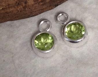 NEW - Sterling Silver PERIDOT Charms   -  2 Round Green Gemstone Mini Pendants or Earring Dangles  GL194