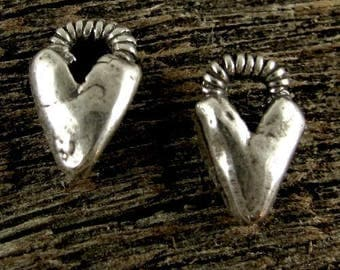 2 Sterling Silver Handcrafted Artisan Heart Charms with Spiralled Top  AC161
