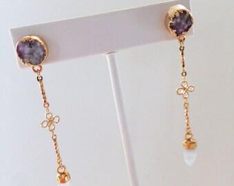 Druzy & Moonstone Dangle earrings - Druzy Earrings, Moonstone Earrings, Drop Earrings
