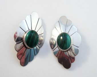 Sterling malachite clip earrings South West