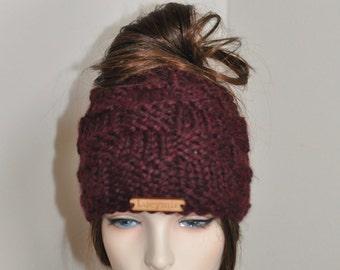 Messy Bun Beanie Ponytail Hat Messy Bun Hat Ponytail Beanie Hat Beanie with hole Mom Life Hat Choose Color Gift