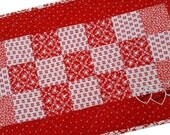 Handmade Quilted Red and White Table Runner, Table or Candle Mat Cotton Fabric with Embroidery Valentine's Hearts with Love, Hugs and Kisses