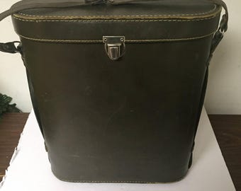 Vintage Leather Workman Lunch Box Tote