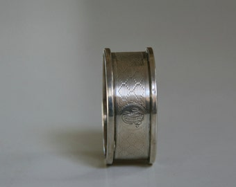 Antique Sterling Silver Napkin Ring, Monogram L.A.R, Hallmark, Honeycomb Design