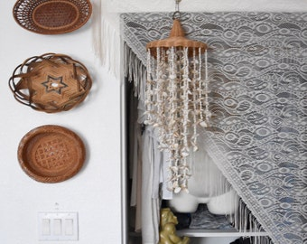 large white boho bohemian crochet wall tapestry / fringed / shawl