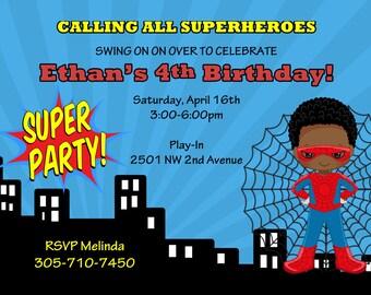 Spiderman Invitation Invite Spider man birthday party Spiderman birthday african american boy birthday invitation