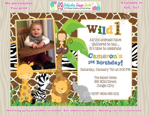 Wild One Birthday Invitation Invite Picture Photo Jungle Birthday Invitation Zoo birhtday invitation jungle animals zoo animals printable