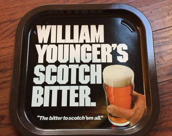 Vintage William Younger's Scotch Bitter Metal Serving Beer Liquor Tray, Man Cave Decor, Metal Square Serving Tray, Beer Tray, Bar Tray