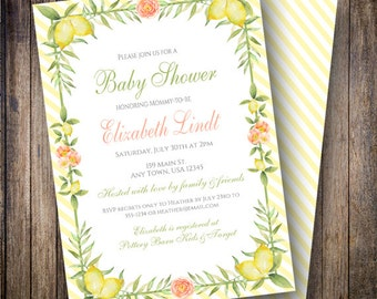 Lemon Floral Baby Shower Invitation, Lemon Baby Shower Invite, Printable Baby Shower Invite - Floral in Yellow, Green, Coral, Pink