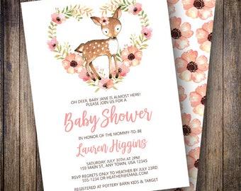 Deer Baby Shower Invitation Girl, Rustic, Woodland Animals, Boho Flower Printable Invite, Bohemian, Pink, Coral