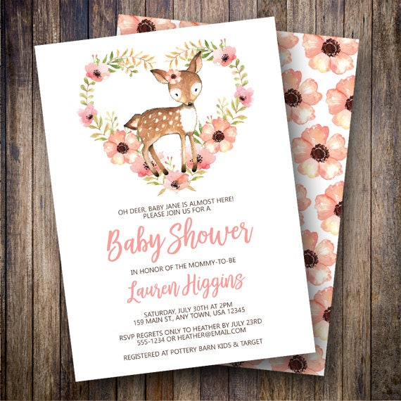 deer baby shower invitation girl rustic woodland animals, Baby shower invitations