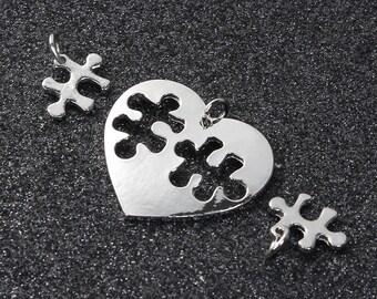 Puzzle Piece Charms Puzzle Pendants Puzzle Heart Charms Heart Pendants Friendship Charms Love Charms Silver Heart Charms Austim Awareness A