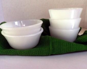 set of 5 Vintage MILK GLASS bowls, small bowls, vintage kitchen
