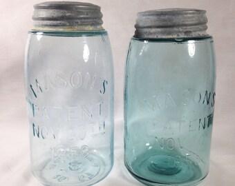 Two Mason's Patent Nov. 30th 1858 Slope Shoulder Blue Canning Jar Zinc Lids Ball Quart Antique Pair