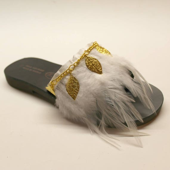 SALE SIZE 38- US 7-7.5 Black sandals with feathers , leather sandals , greek sandals