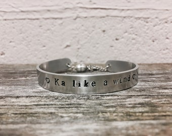 """Dark Tower """"Ka like a wind"""" - hand stamped brushed aluminum 3/8"""" x 6"""" cuff with charm, Dark tower, Stephen King, Gift"""