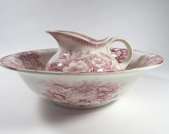 Antique French Porcelain Pitcher and Basin Rose Pink and Cream Transferware Shabby and Chippy NEW LOWER PRICE