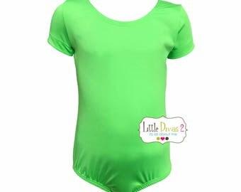 Lime Green Leotard-Ballet Short Sleeve Leotard (Children's)