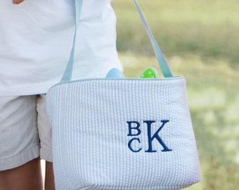 Easter basket, boys monogrammed easter basket, girls personalized easter bucket