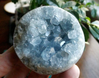 Celestite Geode Sphere - Teacher of the New Age, Angelic crystal, crystal healing, peaceful and calming crystal