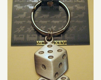 Vintage JJ  Keyring- Jonette Jewelry Lucky dice- Artifacts 1986- collectible or unique gift