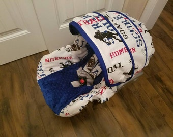 Ready to ship baby boy car seat cover- sports theme - fits Graco 22 infant seats - Free Shipping
