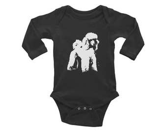 Poodle Baby Onepiece, Dog Baby Announcement, Dog Baby Clothes, Standard Poodle, Cute Baby Girl Clothes, Unique Gender Neutral Baby Clothes