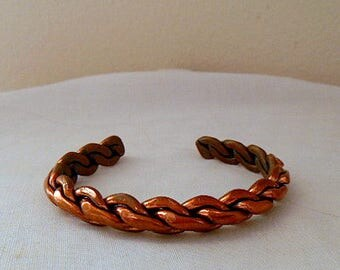Vintage heavy weight twisted Copper cuff Bracelet