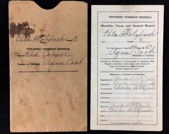handwritten grade school report card 3rd grade 1946-1947