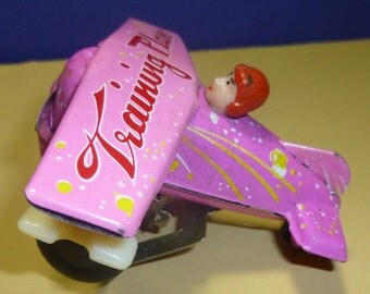 Vintage Training Plane Tin Wind Up Toy, (pink) 1970s