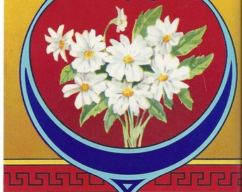 Heart with Daisies Vintage Broom Label, 1970s
