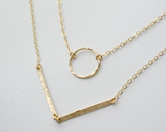 Gold Double Strand Circle and Chevron Necklace/ Gold or Silver Layering Necklace/ Chervron Necklace/ Hammered Bars / Circle Necklace