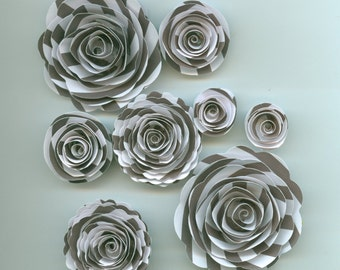 White and Black Striped Handmade Spiral Paper Flowers