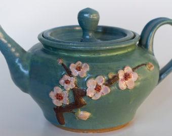 Cherry Blossom Stoneware Teapot Sculpture Pottery Handmade Green Pink Steeping Tea Pot Brew Loose Leaf Fresh Winter Gift Holiday Minnesota