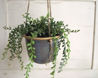 Hanging Planter Pot , Vintage Pottery Planter , Stoneware Planter , Indoor Outdoor Planters , Mother's Day Gift