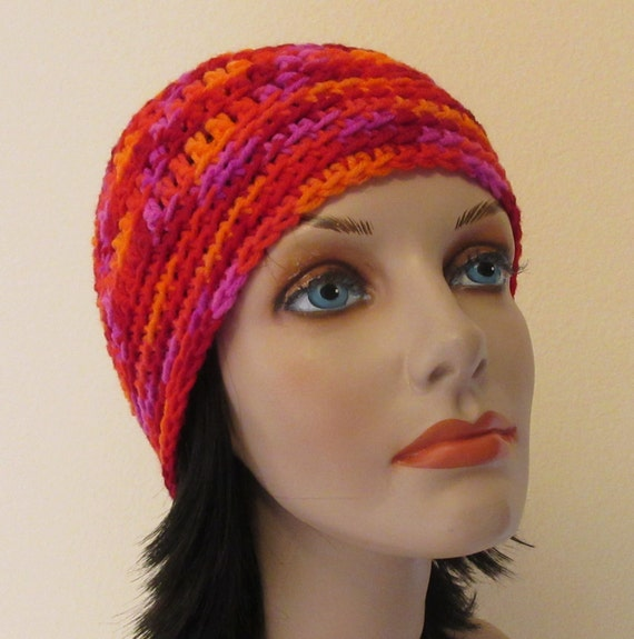 Red Yellow Purple Orange Beanie, Bright Color Beanie, Crocheted Red Beanie, Cold Weather Hat, Winter Sports, Bright Hat