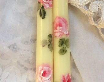 Hp candles roses pink canles  taper pair