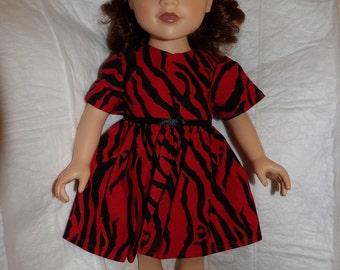 Red & black Zebra print dress for 18 inch dolls - ag304