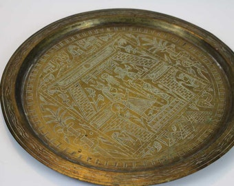 Vintage Brass Egyptian Plate / Platter / Tray / Wall Hanging