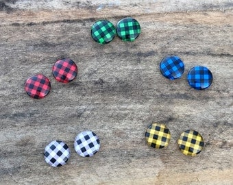 Flannel print post earrings red blue green white yellow colors available