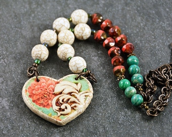 Victorian Handmade Heart Shaped Pendant  Ceramic Charm Red Green White Beads Necklace