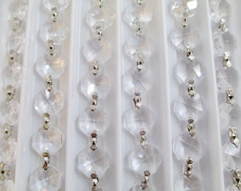 1 YARD (3 Feet) Crystal Garland Chain - Asfour Full Lead Crystal Chains - Chandelier Crystal Prism Chain