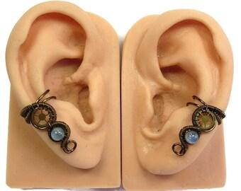 Pair of Kyanite & Bronze Small Steampunk Ear Cuffs - Steampunk Jewelry