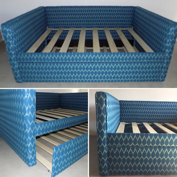 Custom Upholstered Daybed With Back and Trundle