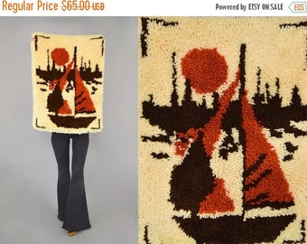 FEBRUARY SALE 70's Sailboat + Sunset SHAG Wall Hanging