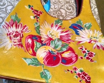 Nine West purse with vintage tablecloth fabric added